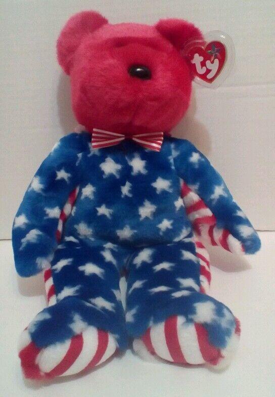 4th of July TY Plush Beanie Beanie Beanie Buddy LIBERTY Bear RED HEAD 14  LARGE Patriotic EUC 6d411d