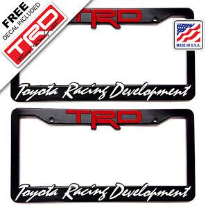 2-TRD-License-Plate-Frame-Toyota-TRD-Tundra-Takoma-FJ-Cruiser-4x4-SR5-Taco-Sport