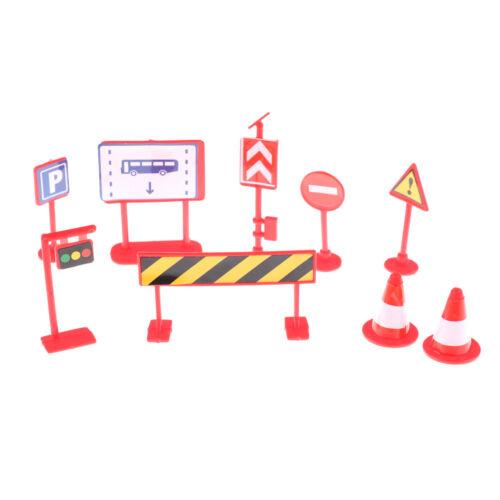9X children DIY model scene toy Kid City road sign roadblock traffic sign t uaSF