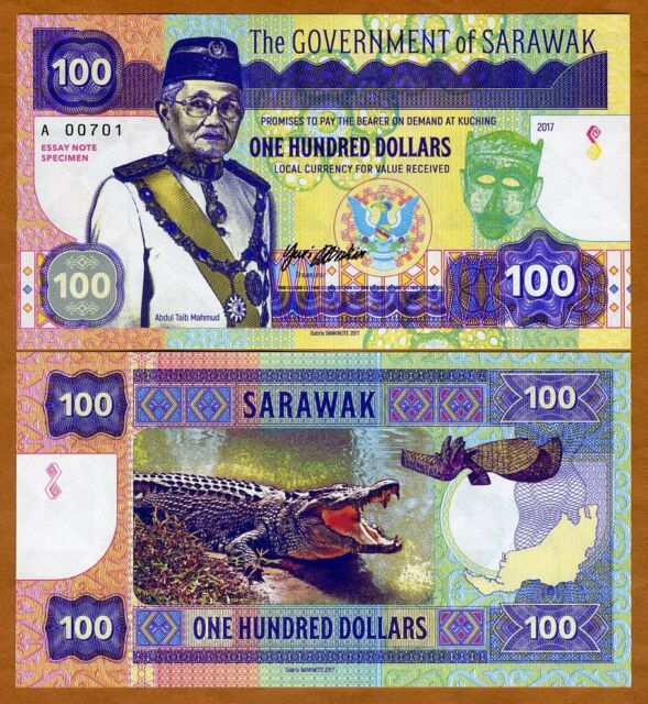 Sarawak, Malaysia, 100 dollars, 2017, Private Issue, UNC > Angry Crocodile