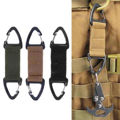 3x Tactical Webbing Belt Double Ended Triangular Carabiner Clip Spring Hook