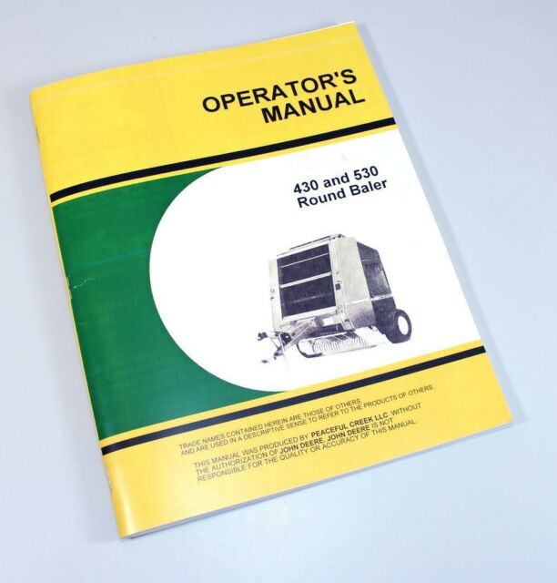 John Deere 430 Round Baler Owners Manual