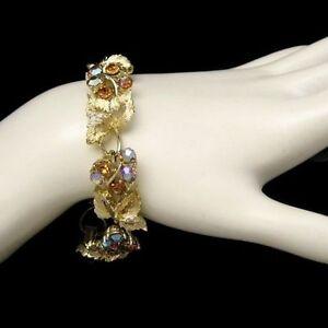 LISNER-Beautiful-Vintage-Bracelet-Topaz-Blue-AB-Rhinestones-Matte-Leaves