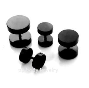 1 Paire ~8G - 00G (1.2mm-Shaft) Noir Anodisé Inox 316l Disque sans Anneaux O JCHYosXv-09095328-433578215