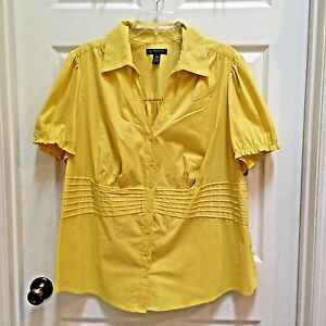 INC-Bright-Yellow-Shirt-24W-Button-Front-Top-Shirred-Back-International-Concepts
