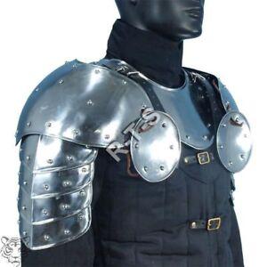 Steel shoulder armor; medieval larp pauldrons; warrior renaissance men shoulder guard; fantasy ren faire unisex cosplay