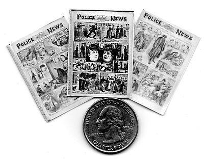 Set 1 DOLLSHOUSE 1:12 scale 3 Miniature  /'Jack the Ripper/'  Newspapers