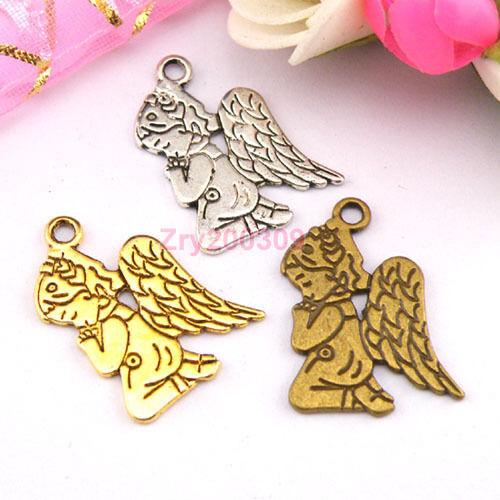 12Pcs Tibetan Silver,Gold,Bronze Angel Charm Pendant Double-Sided M1228