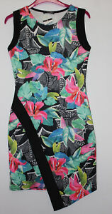 Quiz-Floral-Bodycon-Dress-With-Unusual-Hemline-Size-10-New-With-Tags