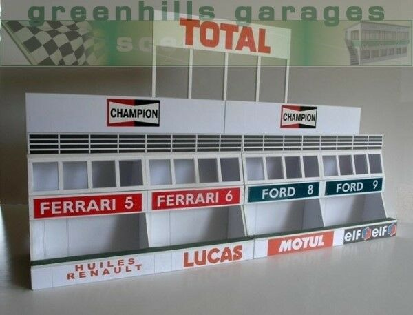 Greenhills Scalextric Slot Car Building Kit Le Mans Pit Boxes 1 32 Scale - Br...
