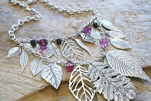 Silver-Beaded-Necklace-Leaf-Gift-Ladies-New