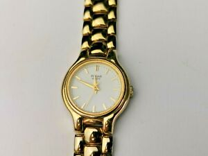 Quality Gold Stainless Steel Pulsar Ladies Quartz Dress Watch, Vintage Watch