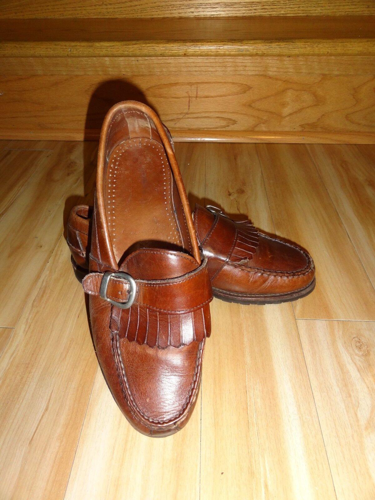 Allen Edmonds Waterbury Brown Leather Buckle Strap Kiltie Loafers 9.5 D USA Made