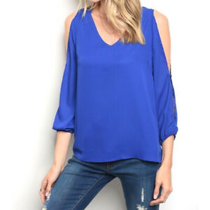 NWT-GILLI-Women-039-s-Cold-Shoulder-Blouse-Blue-Size-Small-S-Top-Shirt-Button