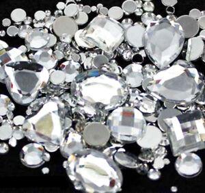 ** Flatback Glue On Grade A Faceted Acrylic Round Rhinestones Crystal Diamante
