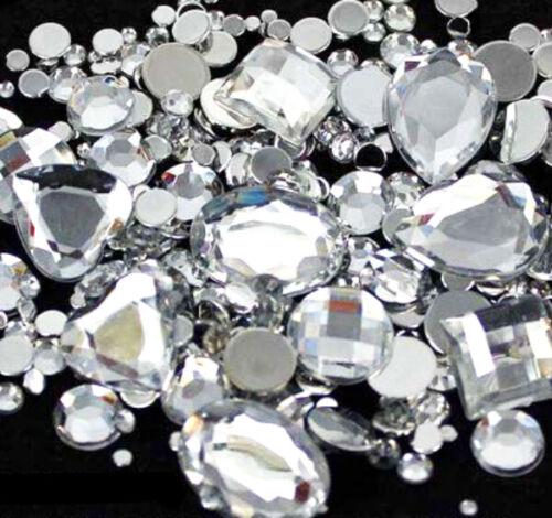 50 Clear mix Flat back Faceted Teardrop Rhinestone Glue On Bead Diamante Gem UK