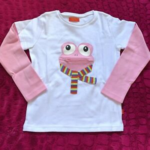 Girls-4-5-Long-sleeved-t-shirt-white-pink-frog-cute-COTTON-top-NEW-104-110