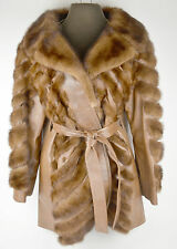 Womens Coats Jackets Fur Real Genuine Leather Brown Striped Womans Vintage Long