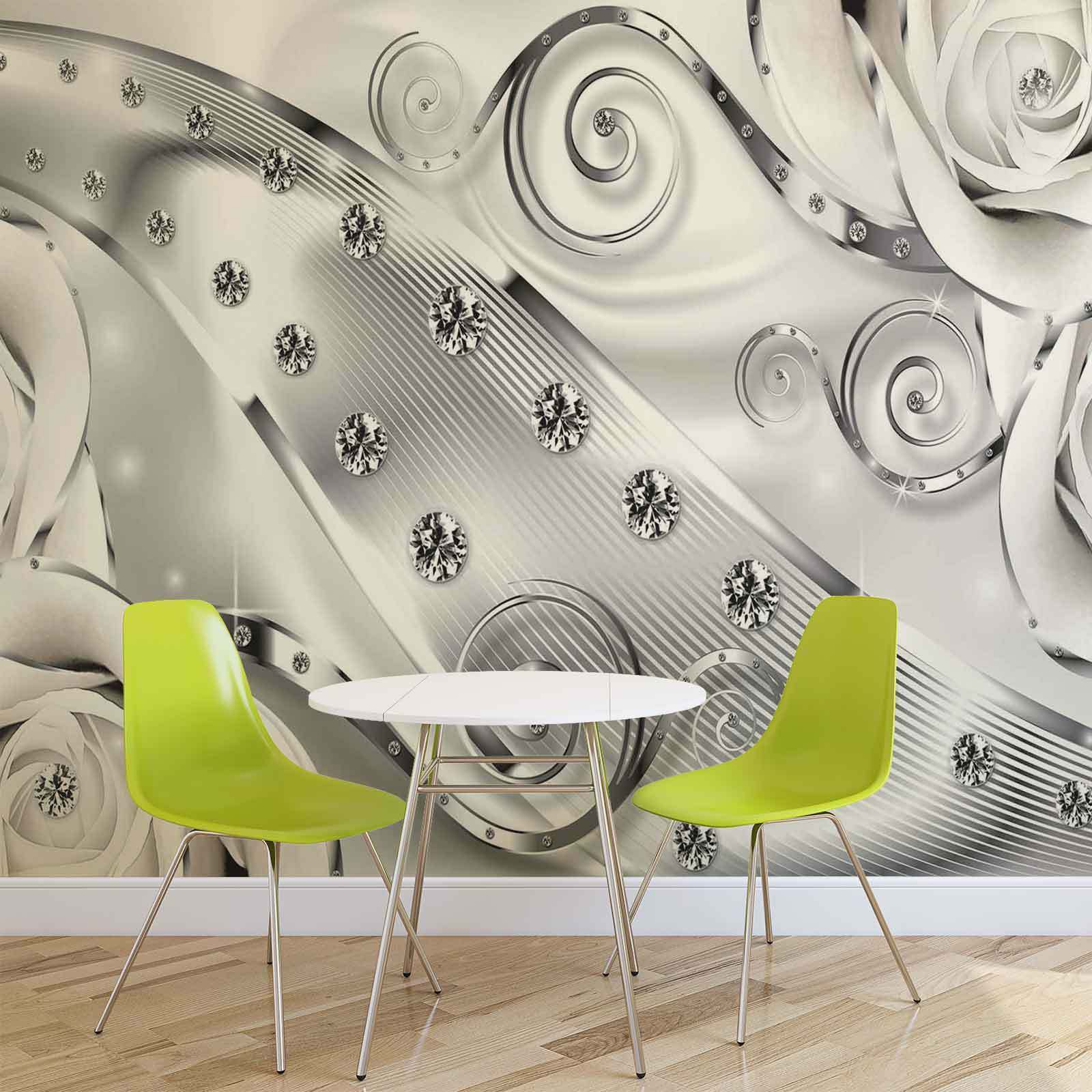 VLIES FOTOTAPETE Zusammenfassung Moderne Blumen Silber TAPETE MURAL (2613FW)