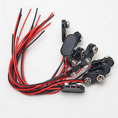 10 Pcs Snap On 9V  Battery Clip Connector Cord With Cable Wire15cm  Hot Sale