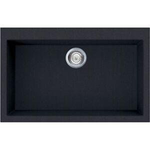 Dettagli su Lavello Fragranite Elleci Quadra 1 Vasca LGQ13040NA 79x50 Nero  Full Black G40