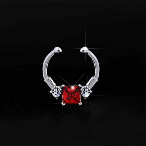 Zircon Clip On Nose Hoop Fake Septum Nose Ring Clicker Jewelry Non-Piercing