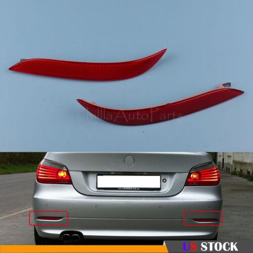 For BMW E60 5-Series Base Sedan 4-Door 03-07 Rear Bumper Reflector Lense Red Set