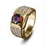 thumbnail 1 - 14K Solid Yellow Gold Natural Garnet & Diamond Gem Stone Men's Ring #022514