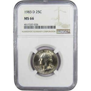 1983-D-25c-Washington-Quarter-US-Coin-MS-66-NGC