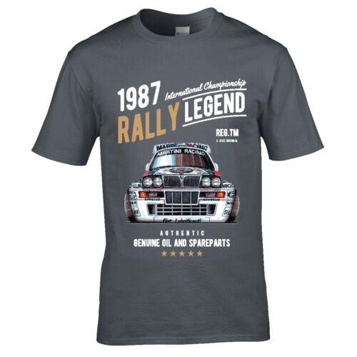 Koolart Rally Legend Motif with 1987 Lancia Delta Integrale HF Car mens t-shirt
