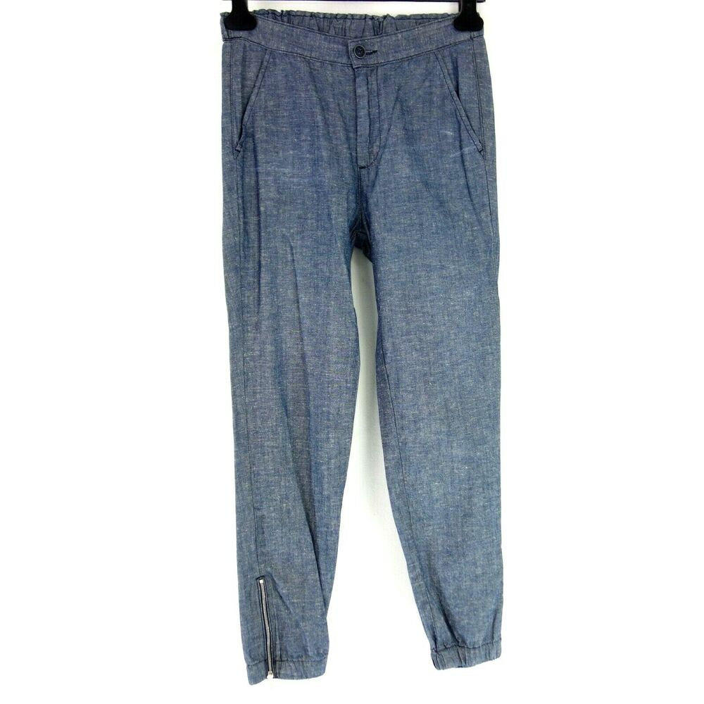 Adriano Goldschmied Ag Pantalon Femmes Stoffhose Jogg Pant T Xs 34 Bleu Np 199 Neuf