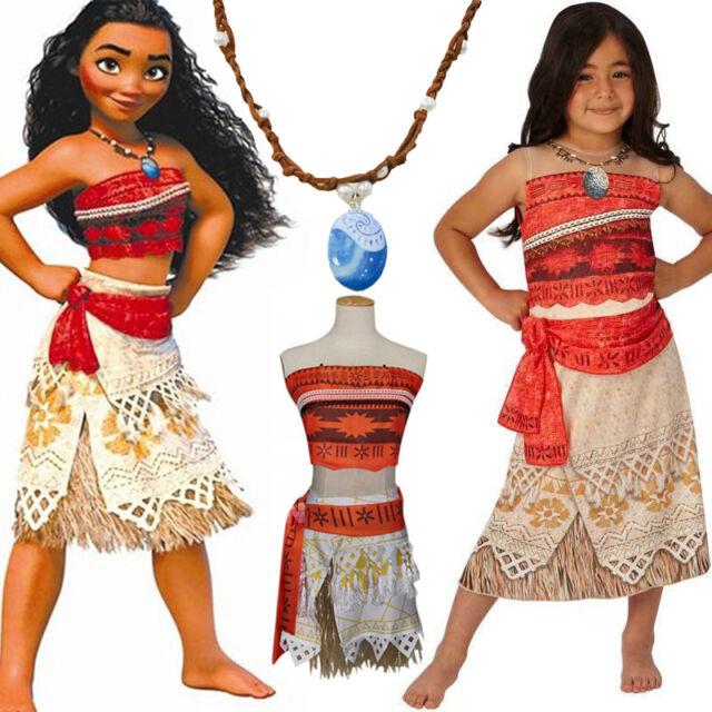Moana Disney Costume Hawaiian Princess Fancy Cosplay Dress&Necklace Outfits Set
