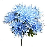 36 Fuji Mums Light Blue Silk Flowers Bush Wedding Bouquet Party Centerpieces