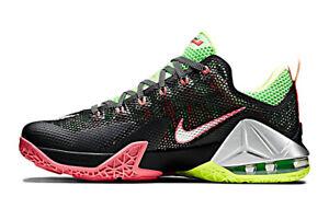 2adddabffce Size 11.5 Nike Men Lebron XII 12 Low 724557 003 Black Silver Neon ...