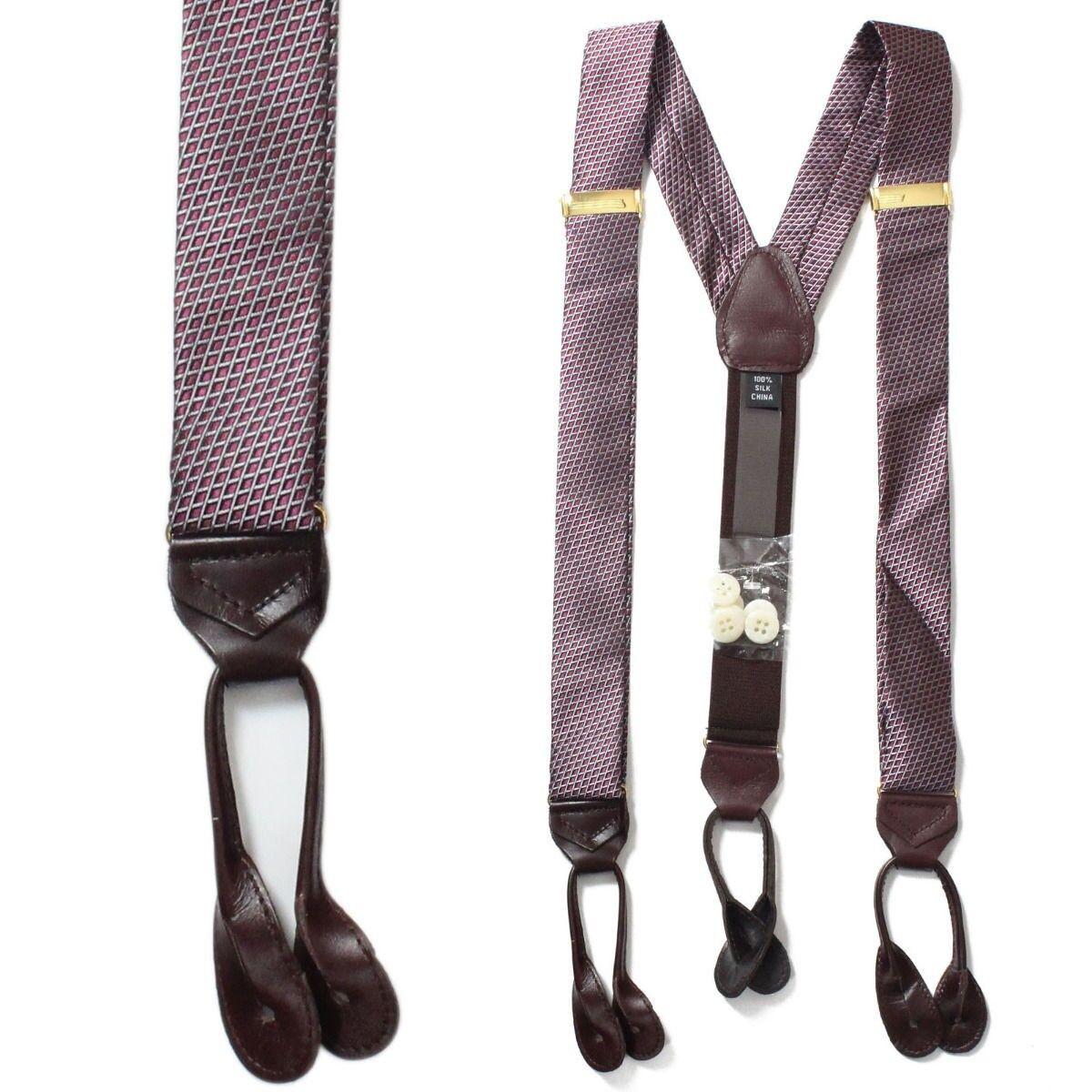 50-255-610 Men's 100% Silk Adjustable Burgundy Y-Back Suspender & Leather Tabs