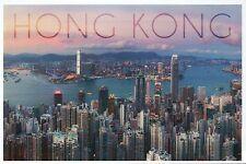 Hong Kong China, Aerial View of City & Harbor, Buildings, Sky -- Modern Postcard