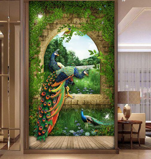 3D IL Fiume, il Pavone Parete Murale Carta da parati immagine sfondo muro stampa