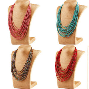 Seed-Beads-Necklace-Multi-Layer-Bib-Statement-Chain-Womens-Jewelry-Long-6-Colors