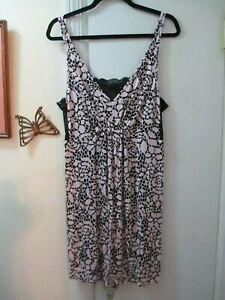 Alfani-Peach-Floral-w-Black-Lace-Adjustable-Straps-Stretchy-Knit-Gown-Size-1X