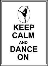 KEEP CALM AND DANCE ON Vinyl Wall Decal Lettering Words Quote Sticker Decor