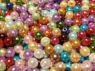 100Pc Quality Round Glass Pearl Beads - Assorted Colour Mix 6mm (CR6001) LOT