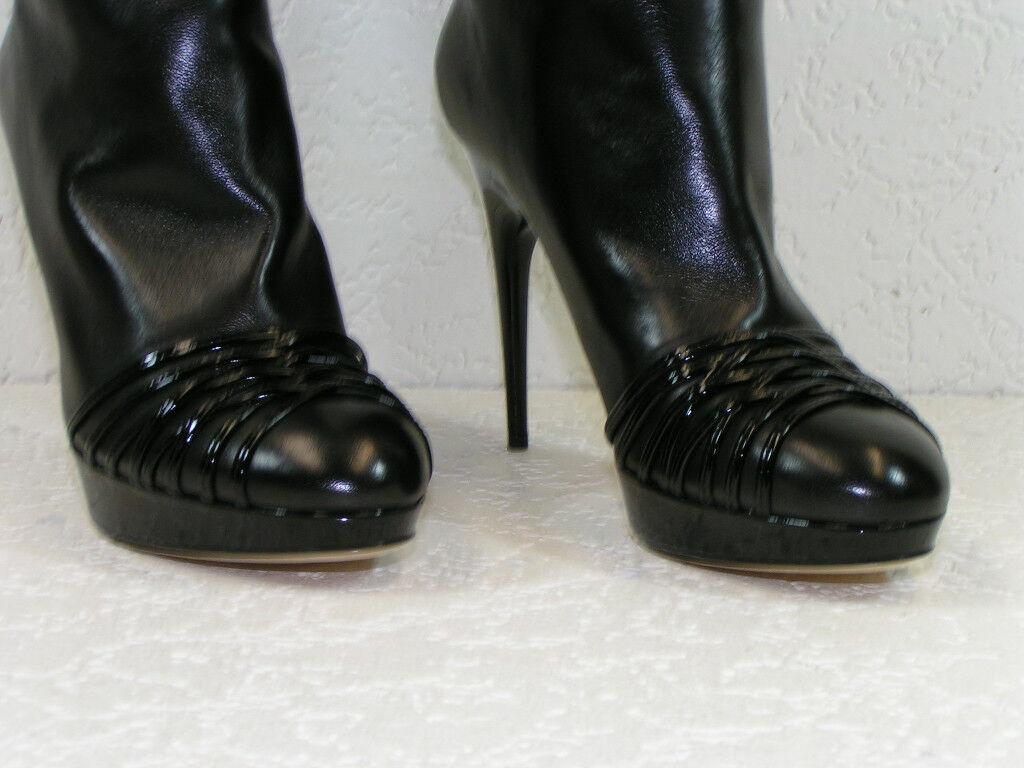 NIB NIB NIB DIOR schwarz LEATHER KARENINA SLOUCH PULL ON TALL Stiefel 39.5 9.5  1250 f8a3d0
