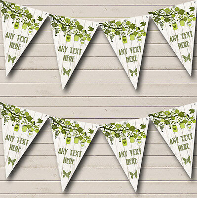 Shabby Chic Vintage Wood Olive Green Retirement Party Bunting Banner