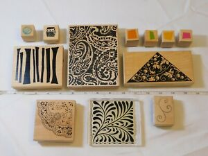 Lot-of-Misc-Wood-Mount-Stamp-Set-includes-12-rubber-stamps-Variety-pre-owned