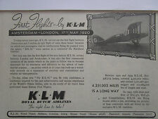 3/1947 PUB KLM ROYAL DUTCH AIRLINES AMSTERDAM LONDON DE HAVILLAND ORIGINAL AD