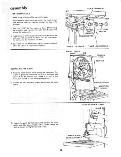 "Sears Craftsman 12/"" Bandsaw 113.243300 /&113.243311 Operating /& Part Manual #1119"