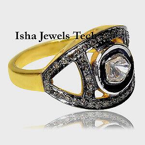 Handmade Natural Pave Diamond /& Diamond Polki 925 Sterling Silver Ring Jewelry