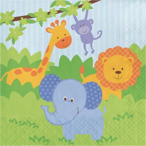 16 X Servilletas amigos de la selva 33cm 2ply Elefante Fiesta de Cumpleaños para Niños Animales