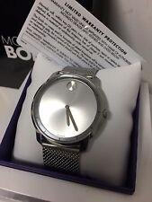 New! Movado BOLD Medium 36mm Slim Silver Dial Steel Mesh Bracelet Watch 3600241