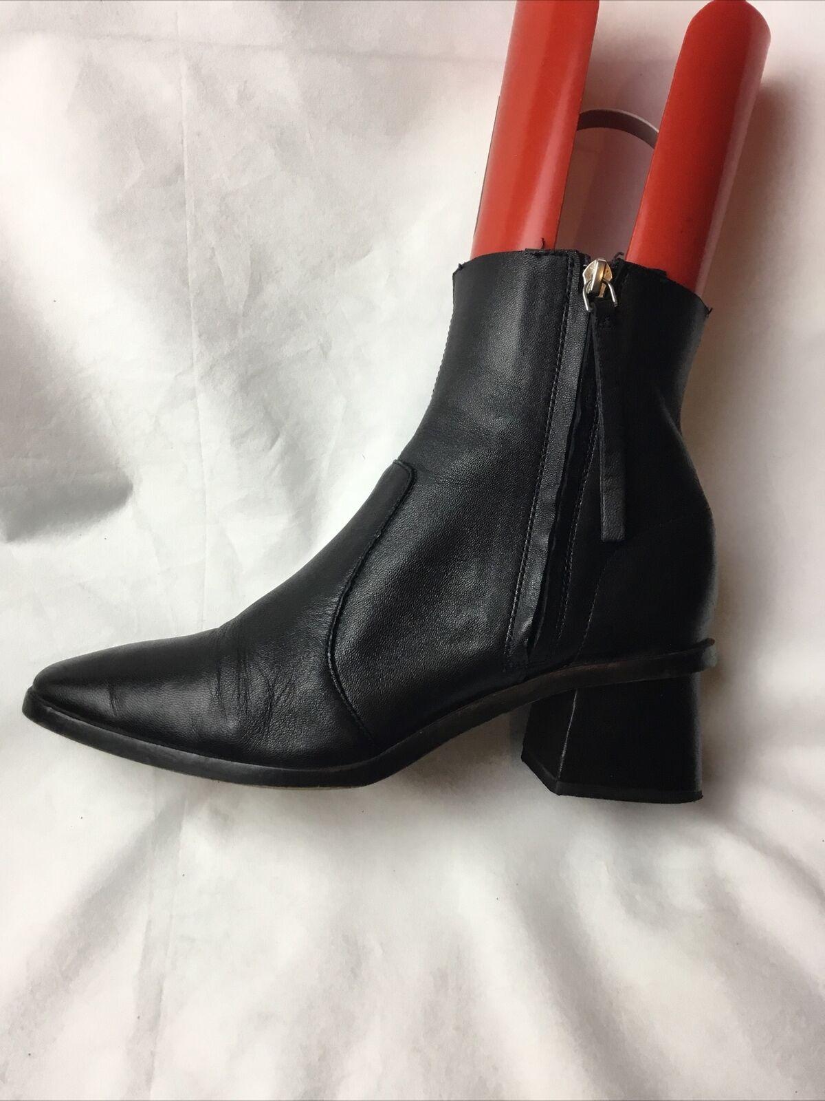 Botas al tobillo señoras UK Size 5 UE Negro Cuero H